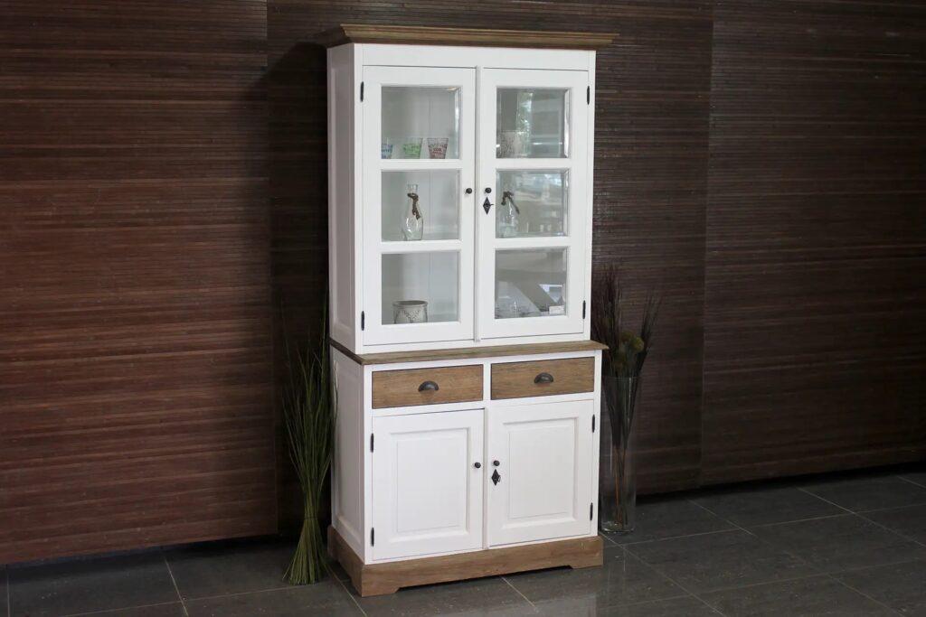Asli 110L SW Teak | smalle landelijke witte buffetkast met teak, facet geslepen glas en draaideuren. Landelijke witte buffetkasten met teakhout - TEAK2.