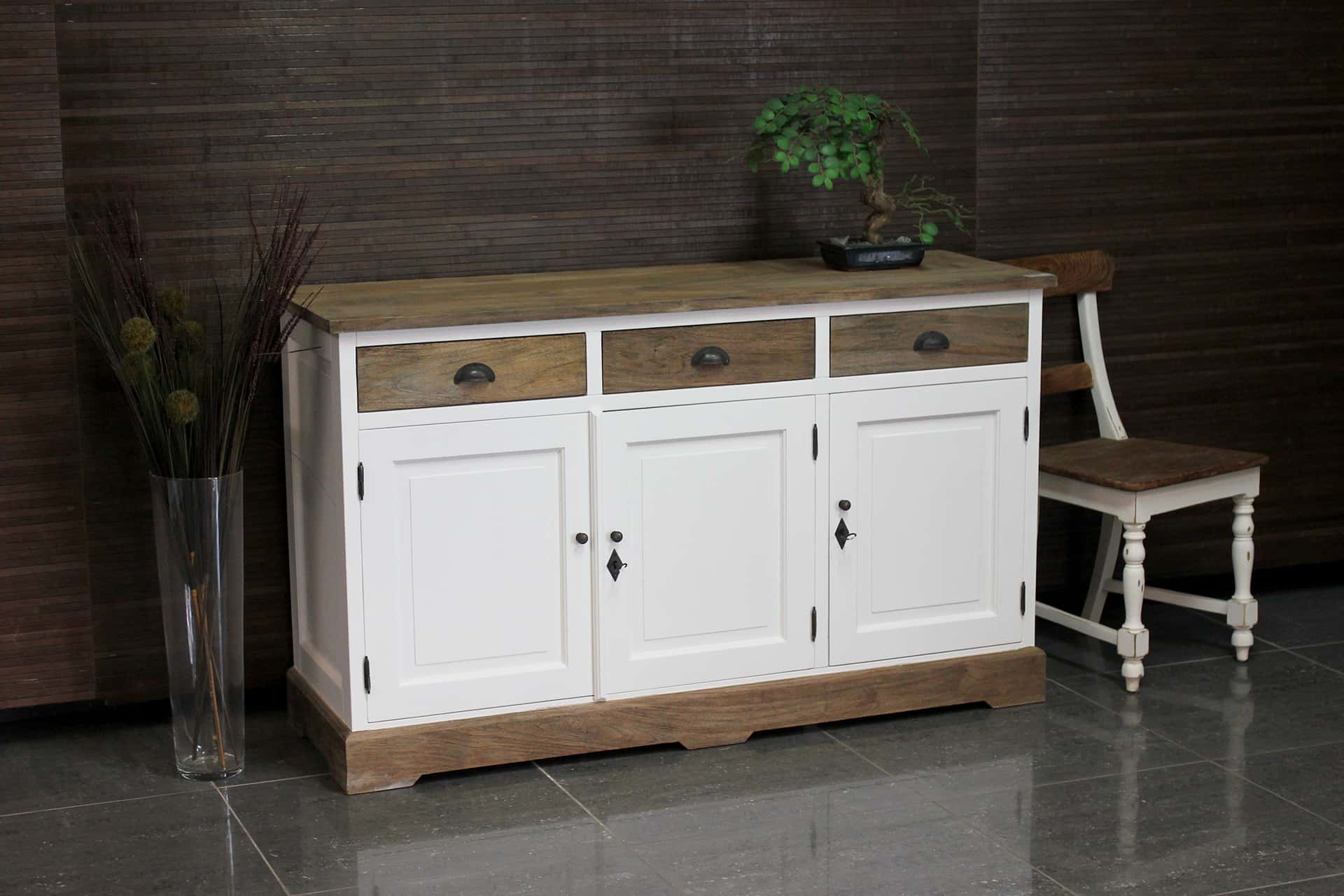 Asli D150L SW Teak | rural white sideboard with teak, revolving doors and drawers. White sideboard with country look & traditional features - TEAK2.