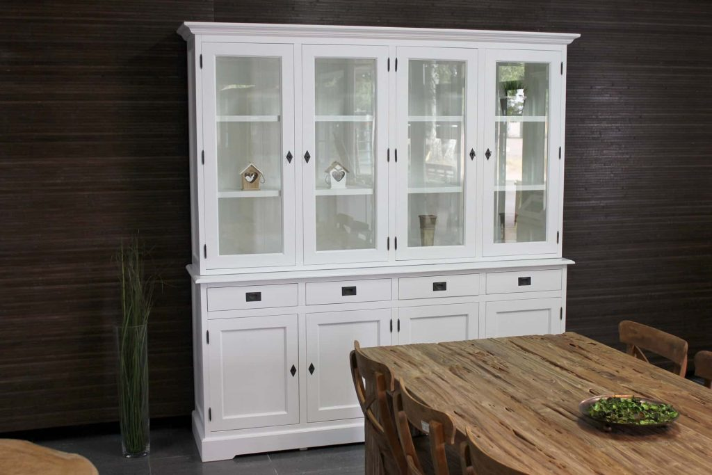 Asli Modern 210L SW | white classic display cabinet in modern traffic white with hinged doors. Classic buffet cabinet with modern style elements - TEAK2 furniture.