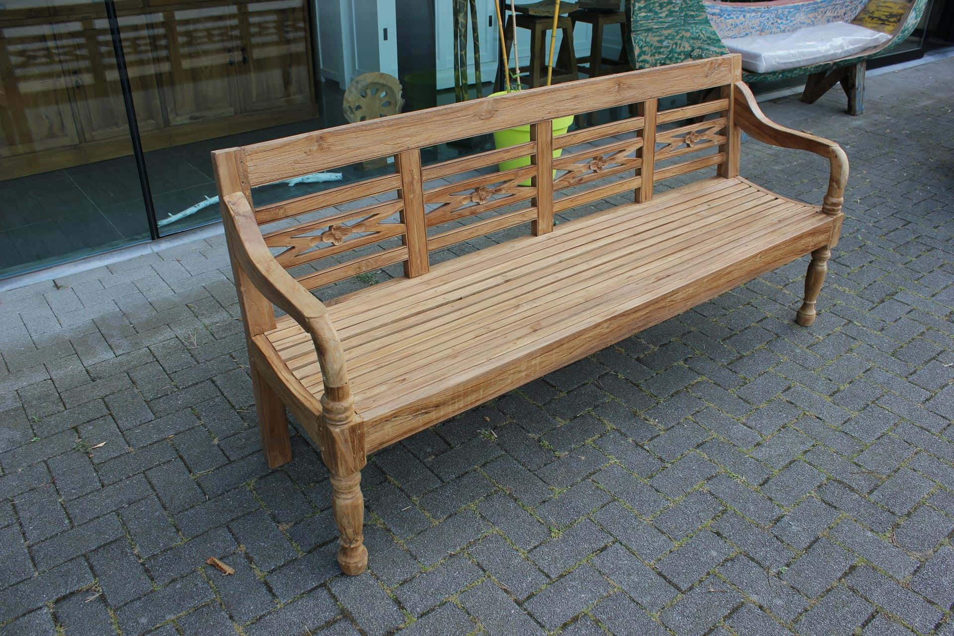Bangku Bunga O190 Old | luxury teak station bench. Teak garden bench in different sizes, quality & craftsmanship from Indonesia - TEAK2.