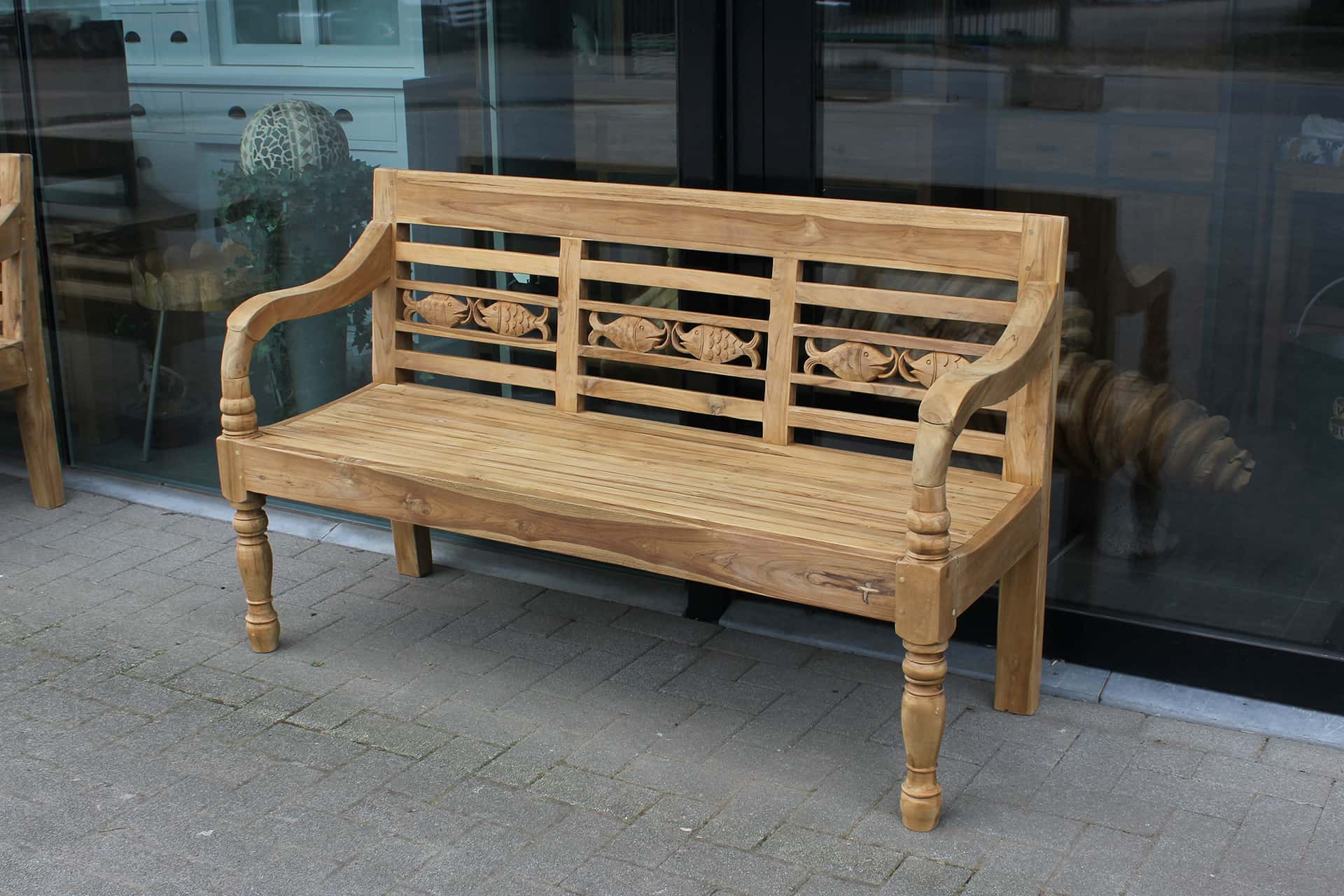 Bangku Ikan O150 | teak garden bench from Indonesia in modern smooth untreated teak. Teak station bench with fish motif.
