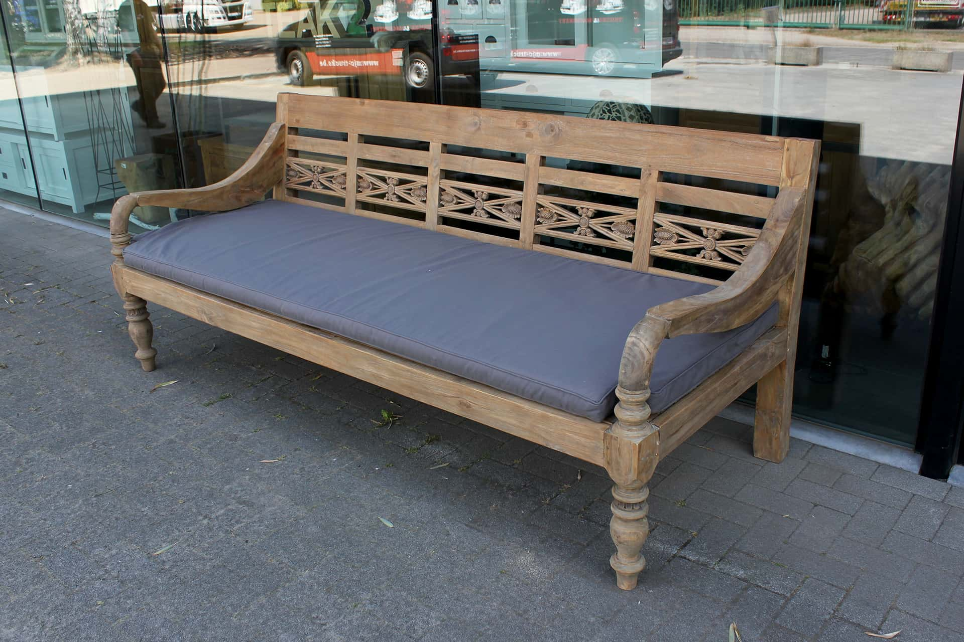 Bangku Raya O240GXD Old | deep old station bench teak from Indonesia. Luxury extra deep garden bench in solid old teak - furniture store TEAK2.