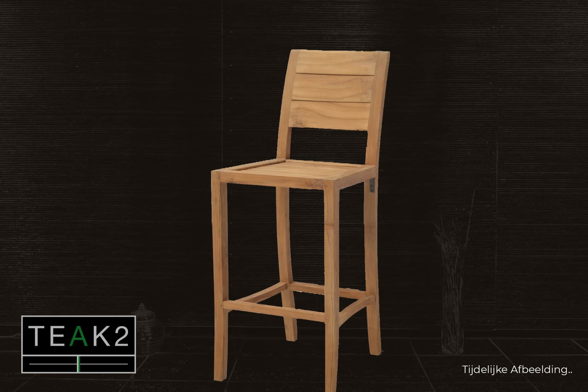 Barstool Teak Jabatan Rata | modern barstool wood in solid teak. High stool in teak and back, modern bar stool in smooth wood - TEAK2.