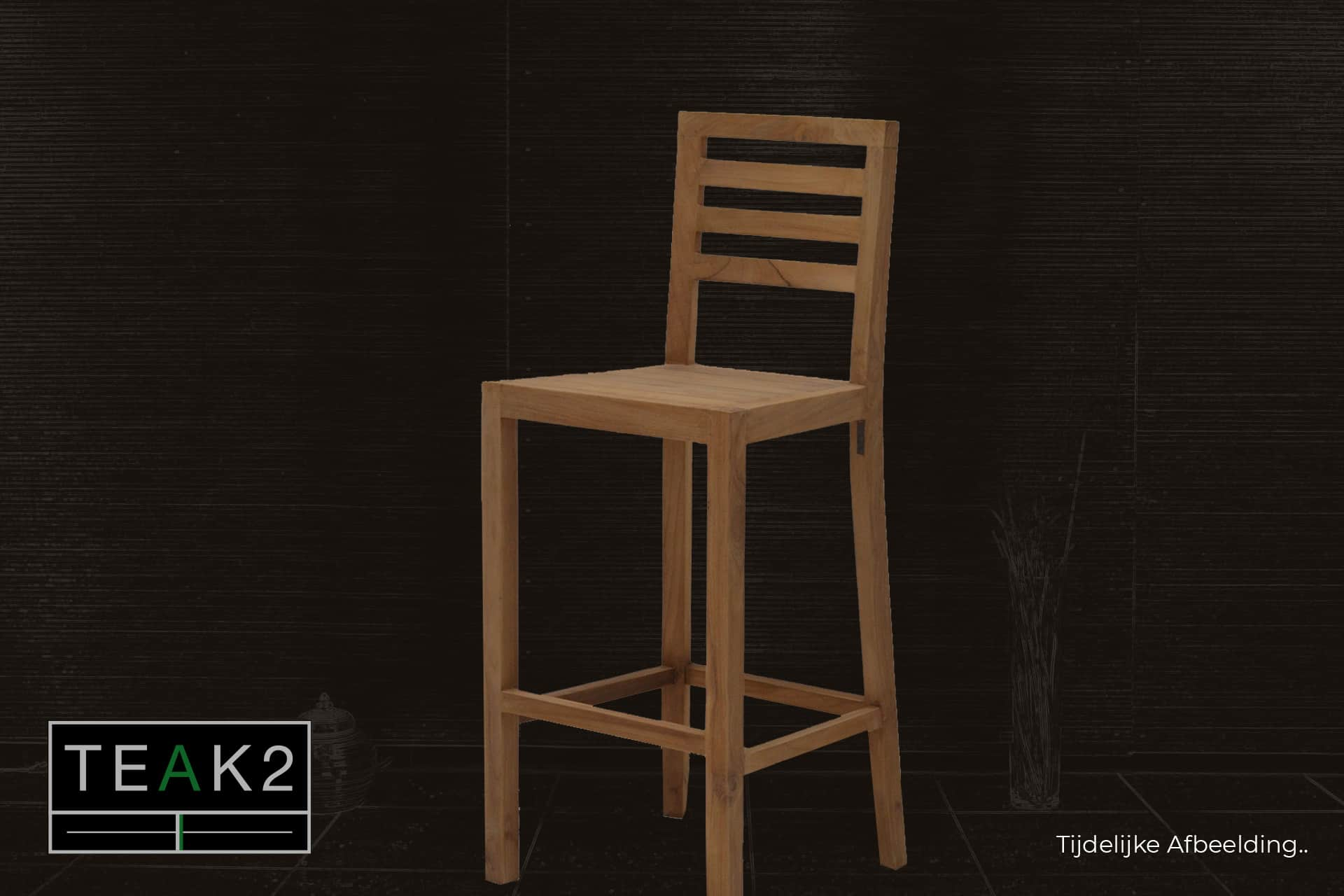 Bar stool Teak Jabatan | modern bar stool wood in untreated smooth teak. Bar stool with a sleek, modern look and back - TEAK2.