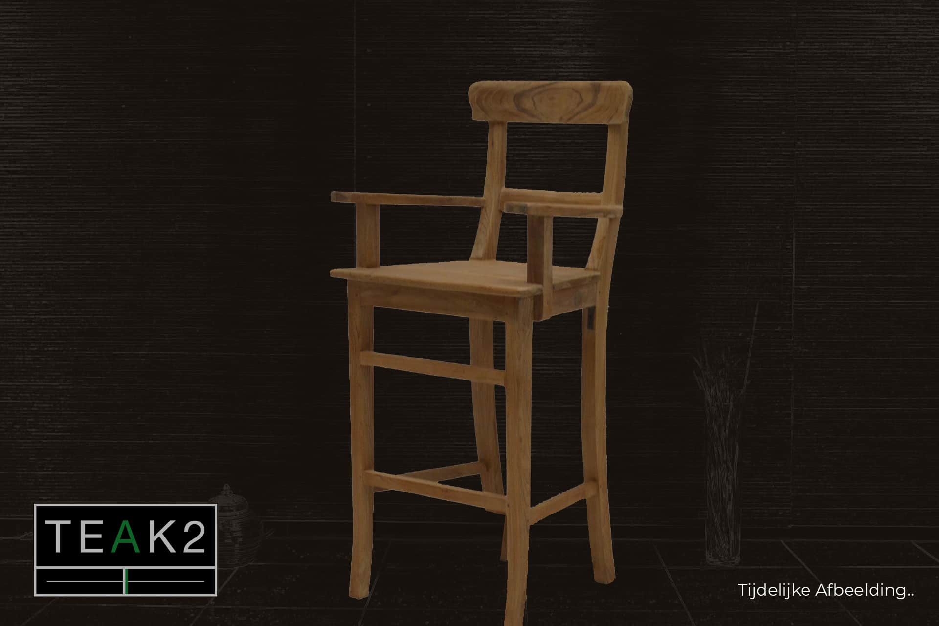 Bar stool Teak Kursi Old Arm | rural teak bar stool with armrest in brushed old teak. Quality from Indonesia, sturdy stool - TEAK2.