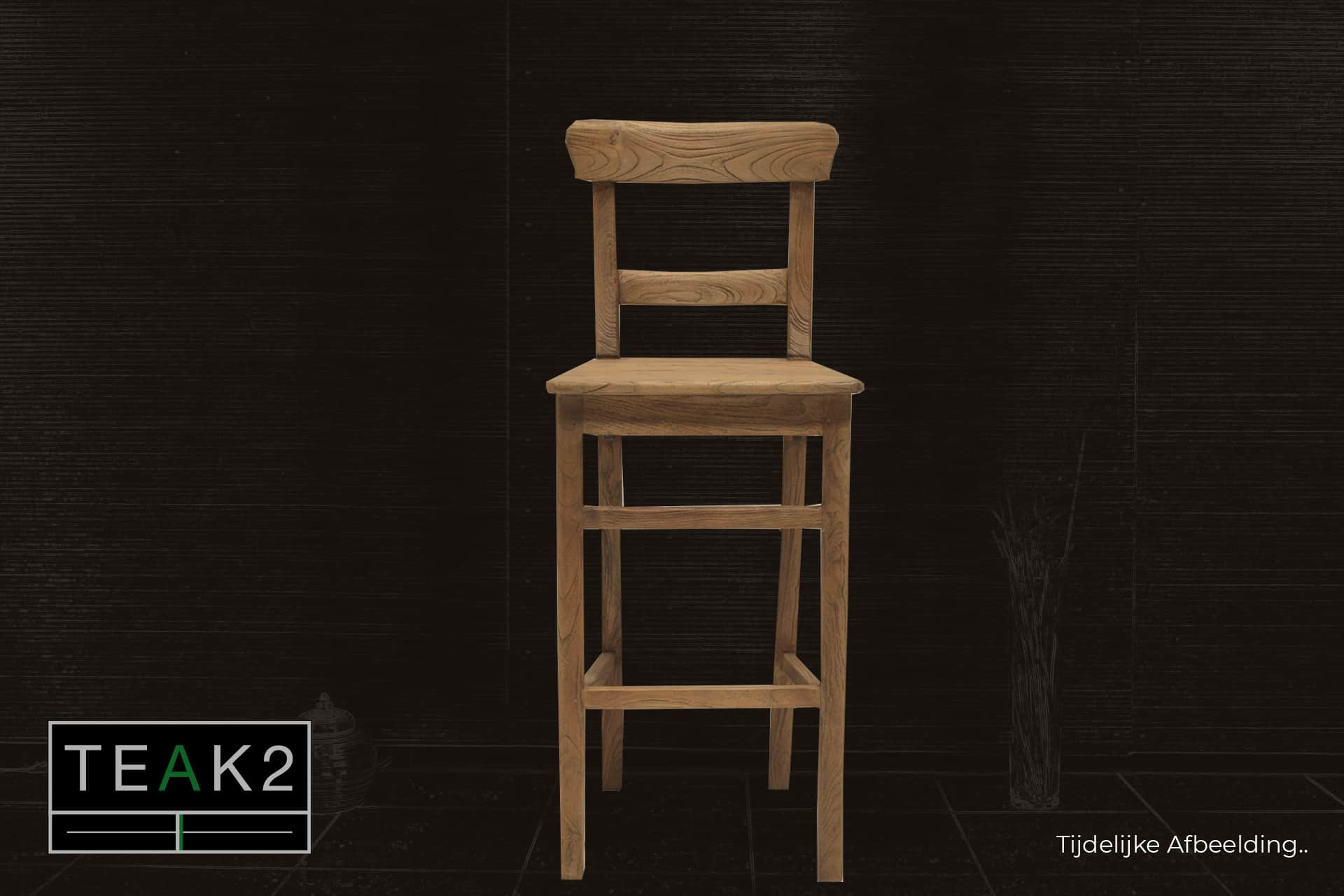 Bar stool Teak Kursi Old | rural teak bar stool in brushed old teak. Teak barstool with rustic look and comfortable seating - TEAK2.