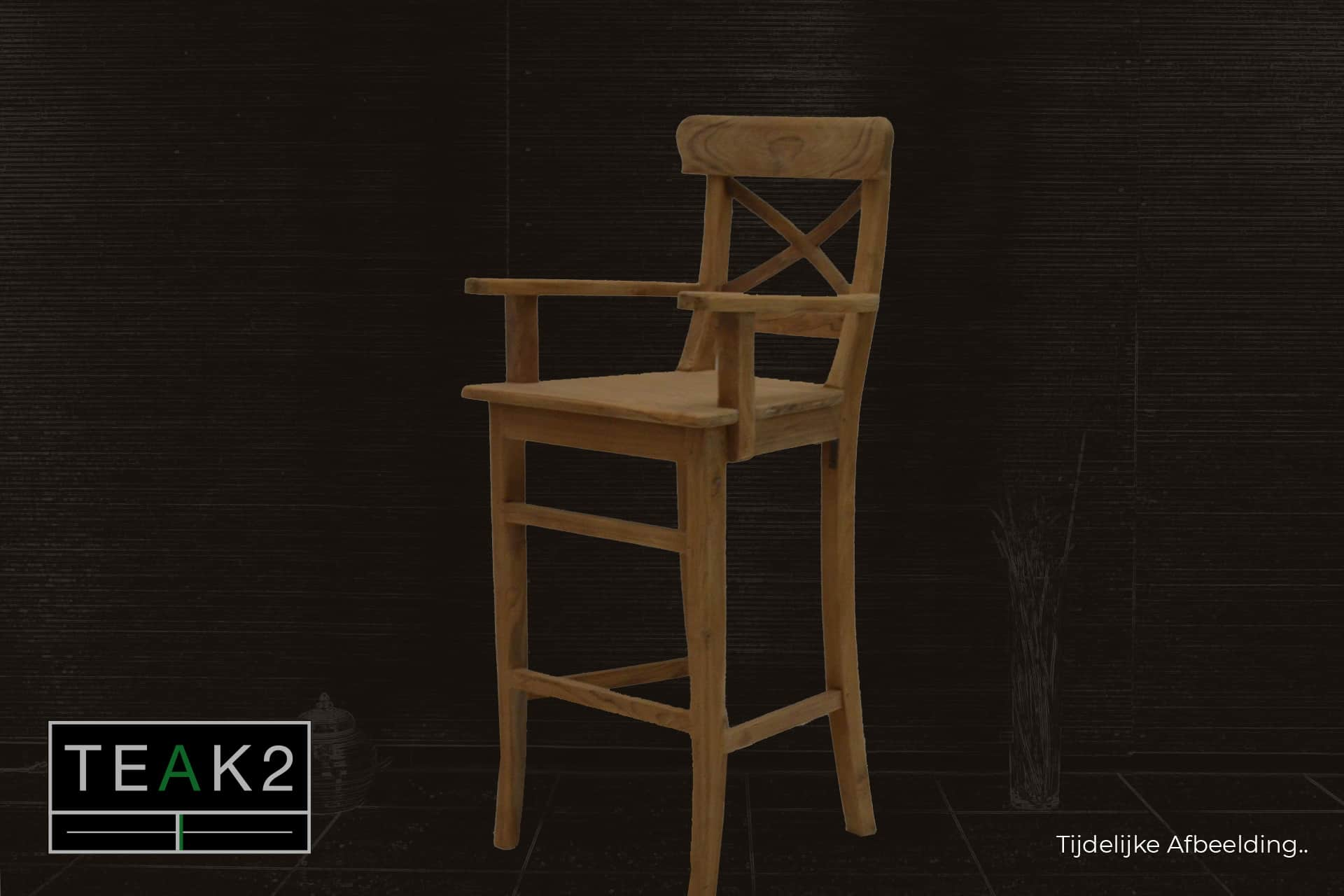 Bar stool Teak Kursi Palang Arm | modern wooden bar stool with armrest in smooth teak and cross in the back. Comfortable high stool in teak - TEAK2.