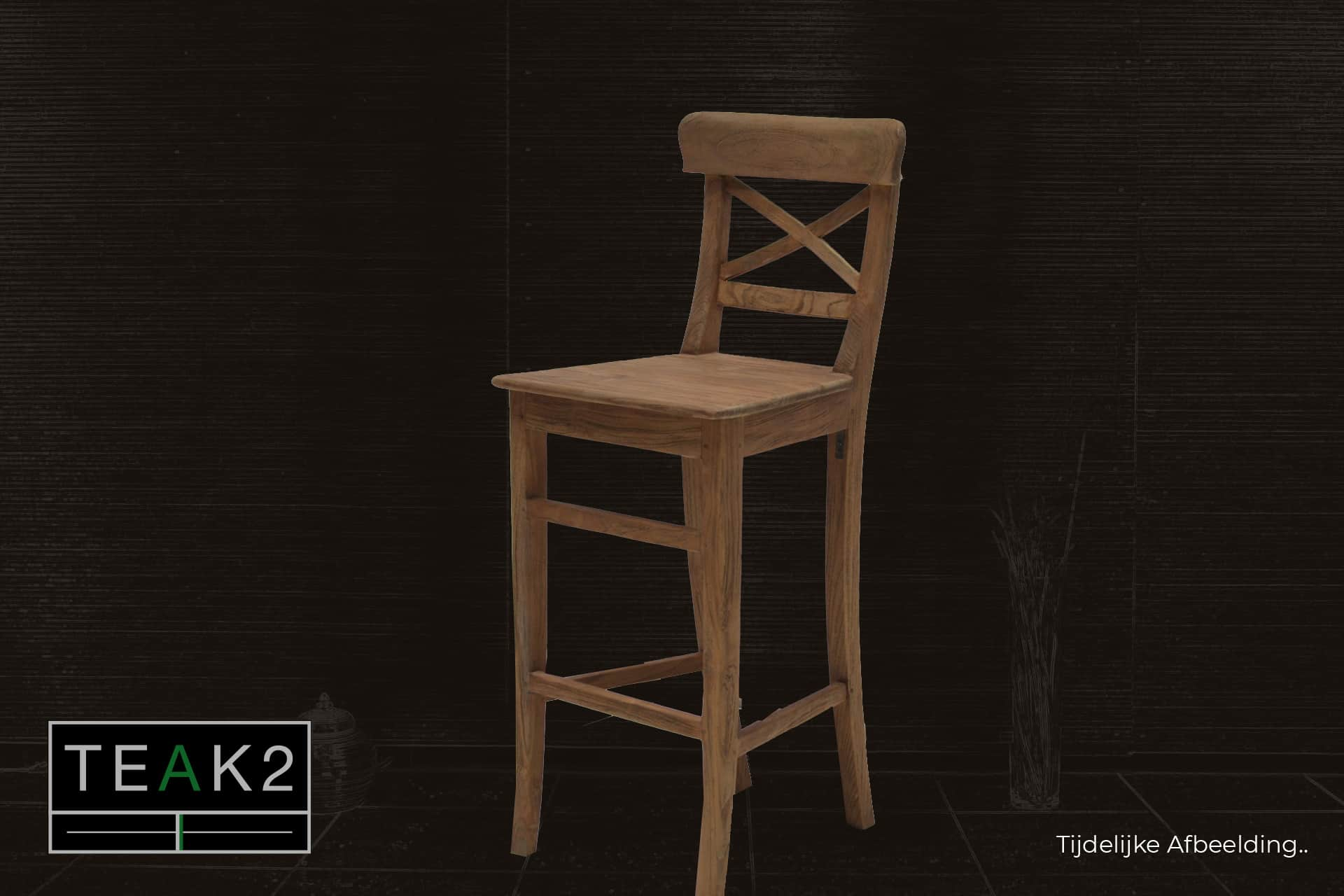Bar stool Teak Kursi Palang L-Old | teak rustic bar stool old teak with cross in the back. Sturdy bar stool or stool solid old teak - TEAK2.