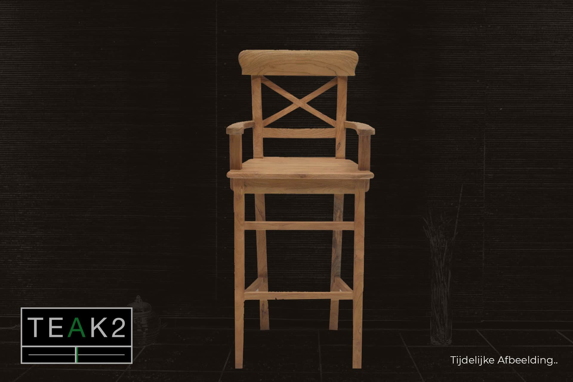 Bar stool Teak Kursi Palang Old Arm | teak bar stool with armrest and cross in the back. Rustic teak bar stool - furniture shop TEAK2.