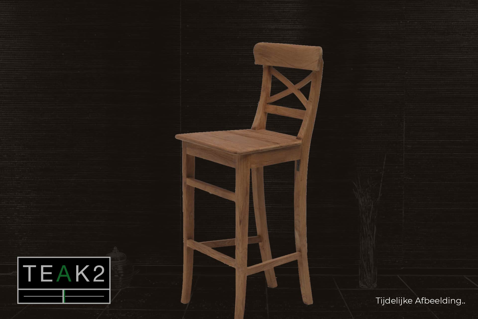 Bar stool Teak Kursi Palang Old | teak bar stool in brushed old teak with cross in the back. Solid stool in solid wood, also catering - TEAK2.