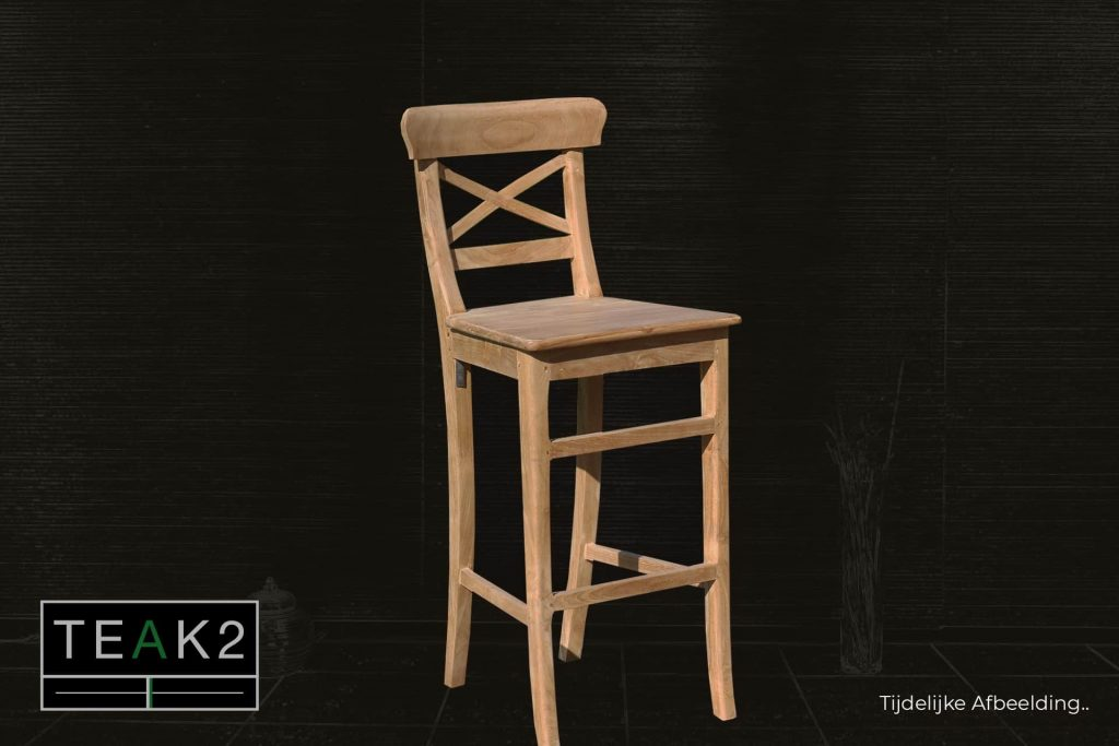 Bar stool Teak Kursi Palang | modern wooden bar stool in smooth teak and cross in backrest. Teak bar stool: comfortable, solid and solid - TEAK2.