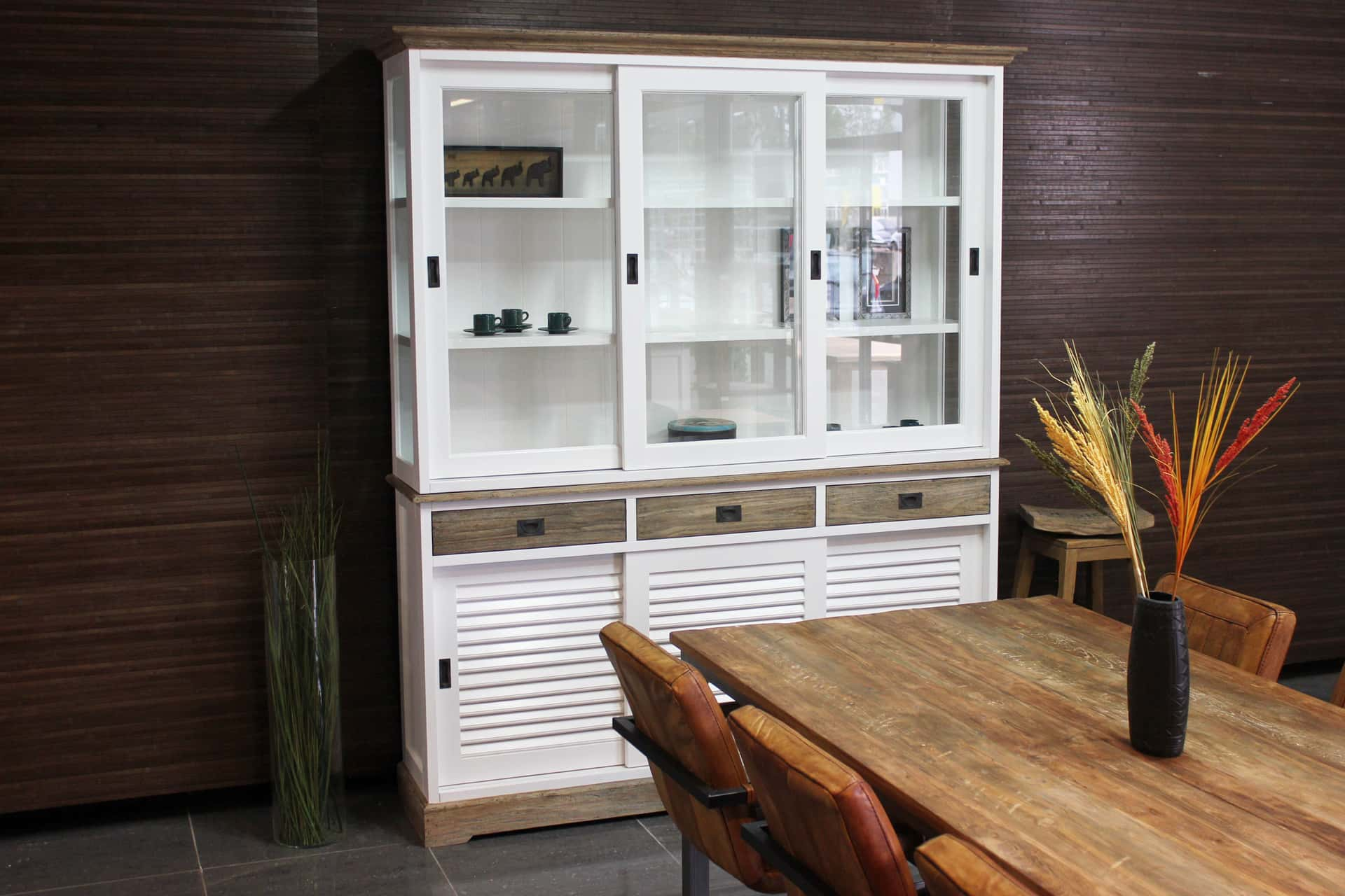 Cerah 180L SW Teak Louvre l rural display cabinet white & teak with louvre doors. Luxurious white buffet cabinet with teak, modern & rural style - TEAK2.