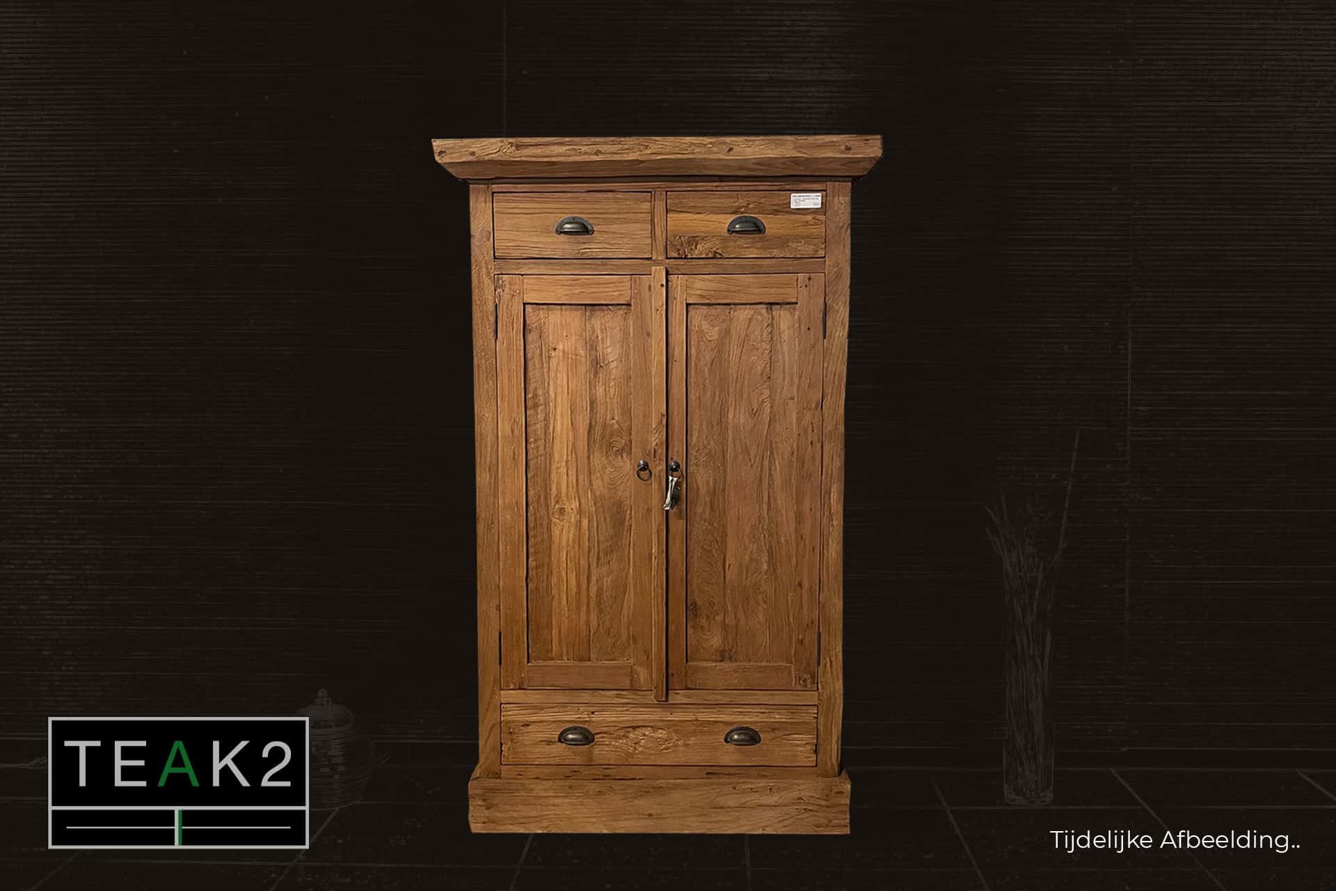 Cuci Lirih 90 Old 4 | small teak cabinet with 4 drawers from Indonesia in brushed old teak. Wall cabinet with revolving doors - teak store TEAK2.