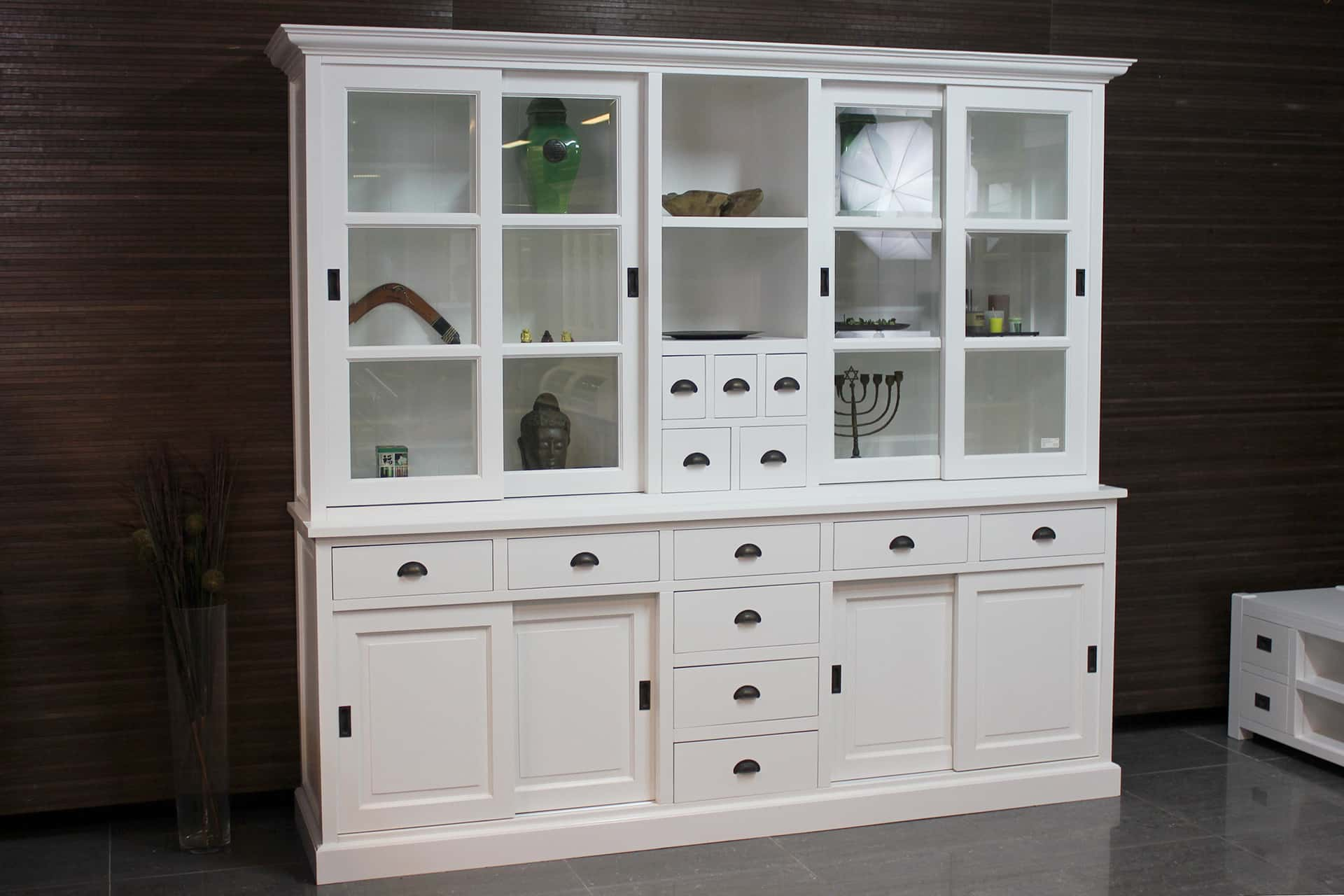 Kedal 250L SW | large modern white store cabinet - luxurious spacious buffet cabinet in traffic white RAL 9016. Exclusive cupboard, large authentic display cabinets in white - TEAK2.