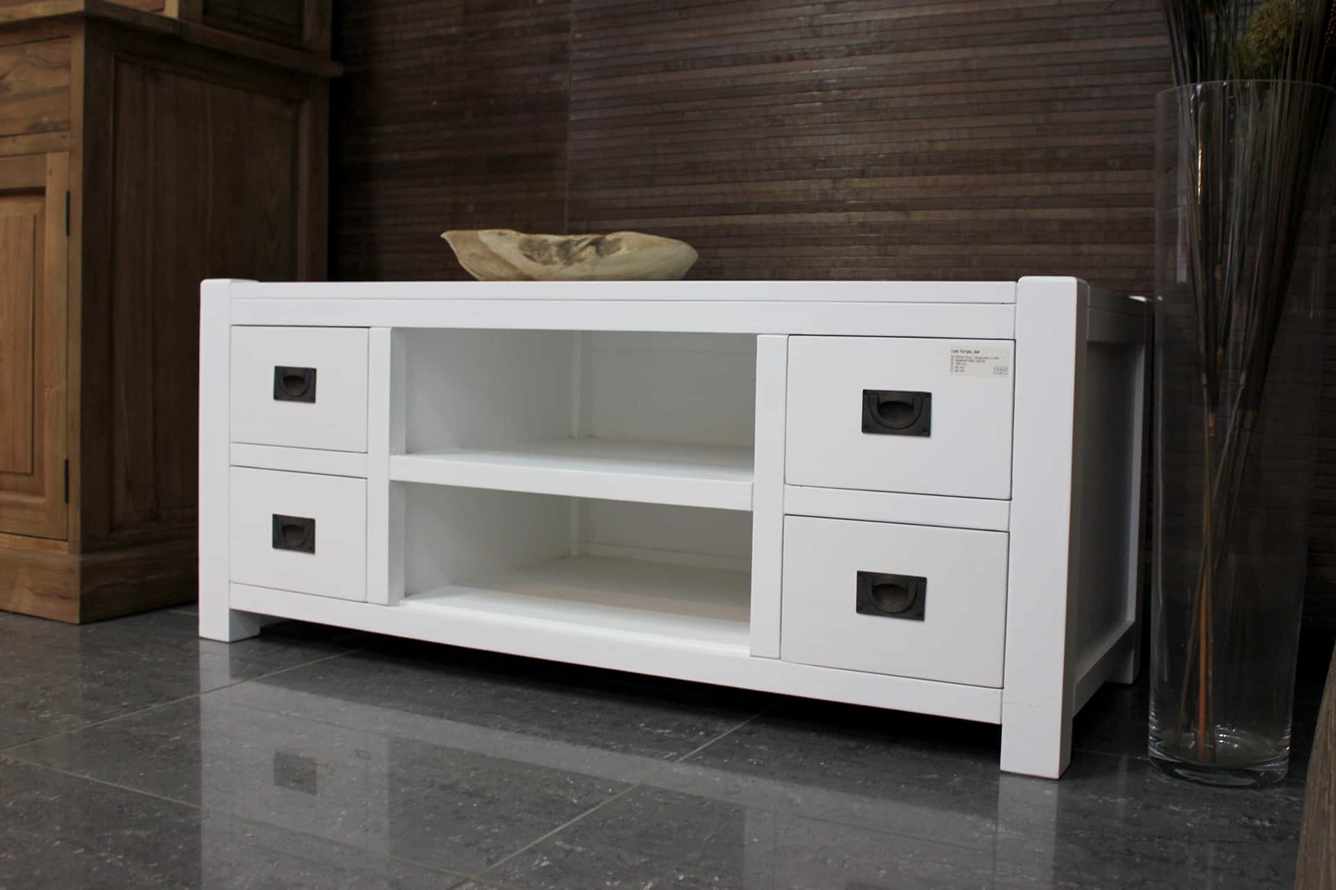 Witte Tv Meubel : Liri tv120l sw klassiek modern wit tv meubel met lades teak2