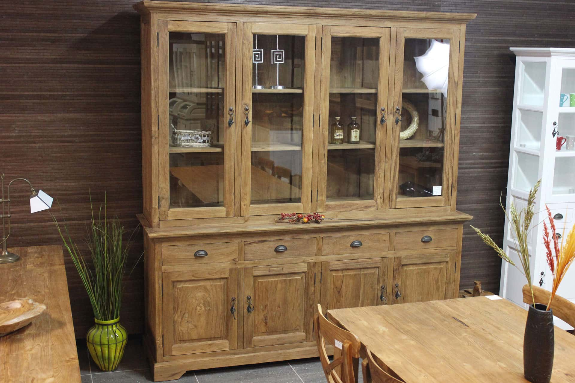 Teak Asli 210I Old | rural teak buffet cabinet with coving and hinged doors. Rustic display cabinet in solid brushed old teak - TEAK2.
