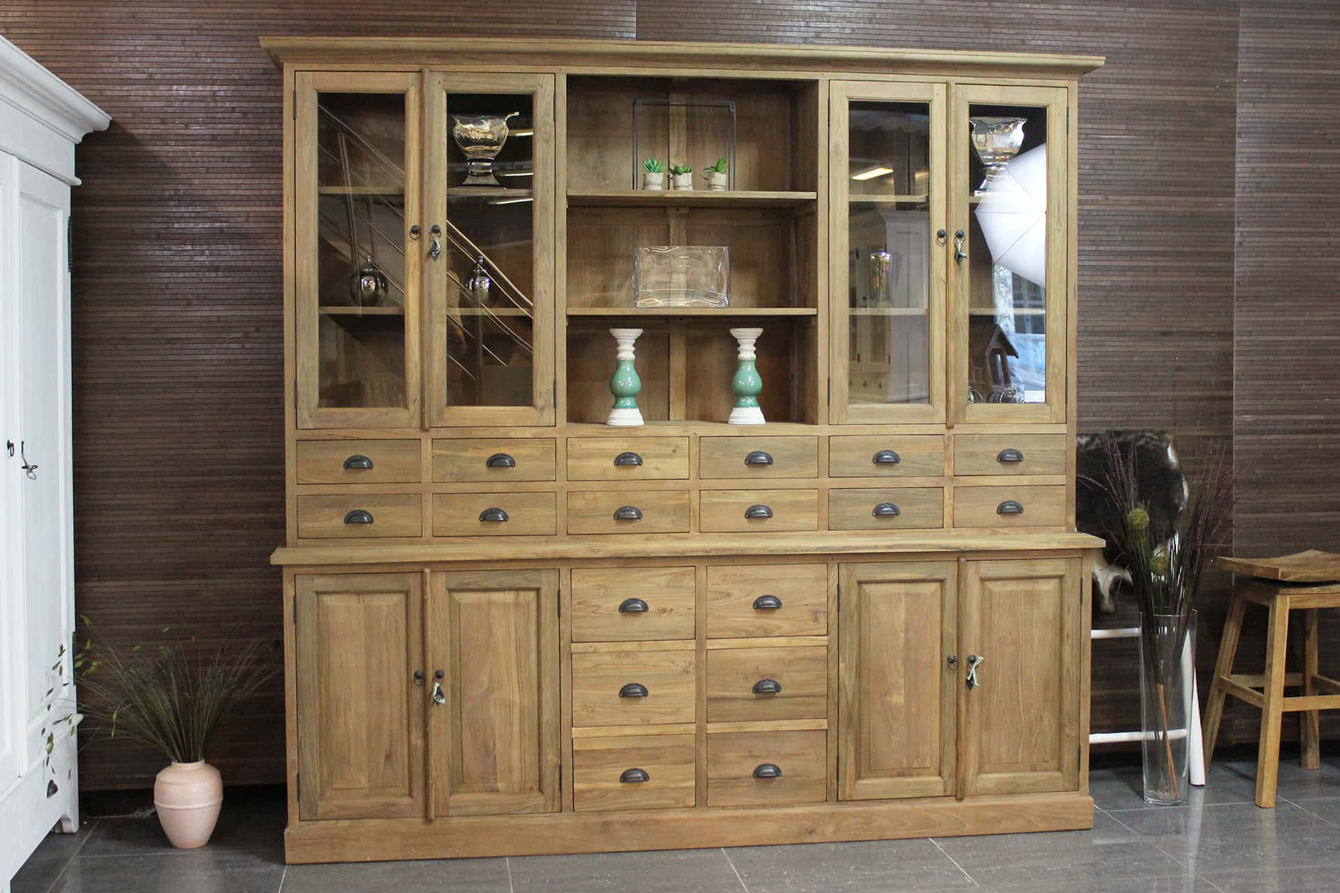 Teak Barang 240 | large teak pharmacy cabinet with lots of drawers and storage space. Spacious buffet cabinet teak, solid smooth untreated wood, rural style - TEAK2.