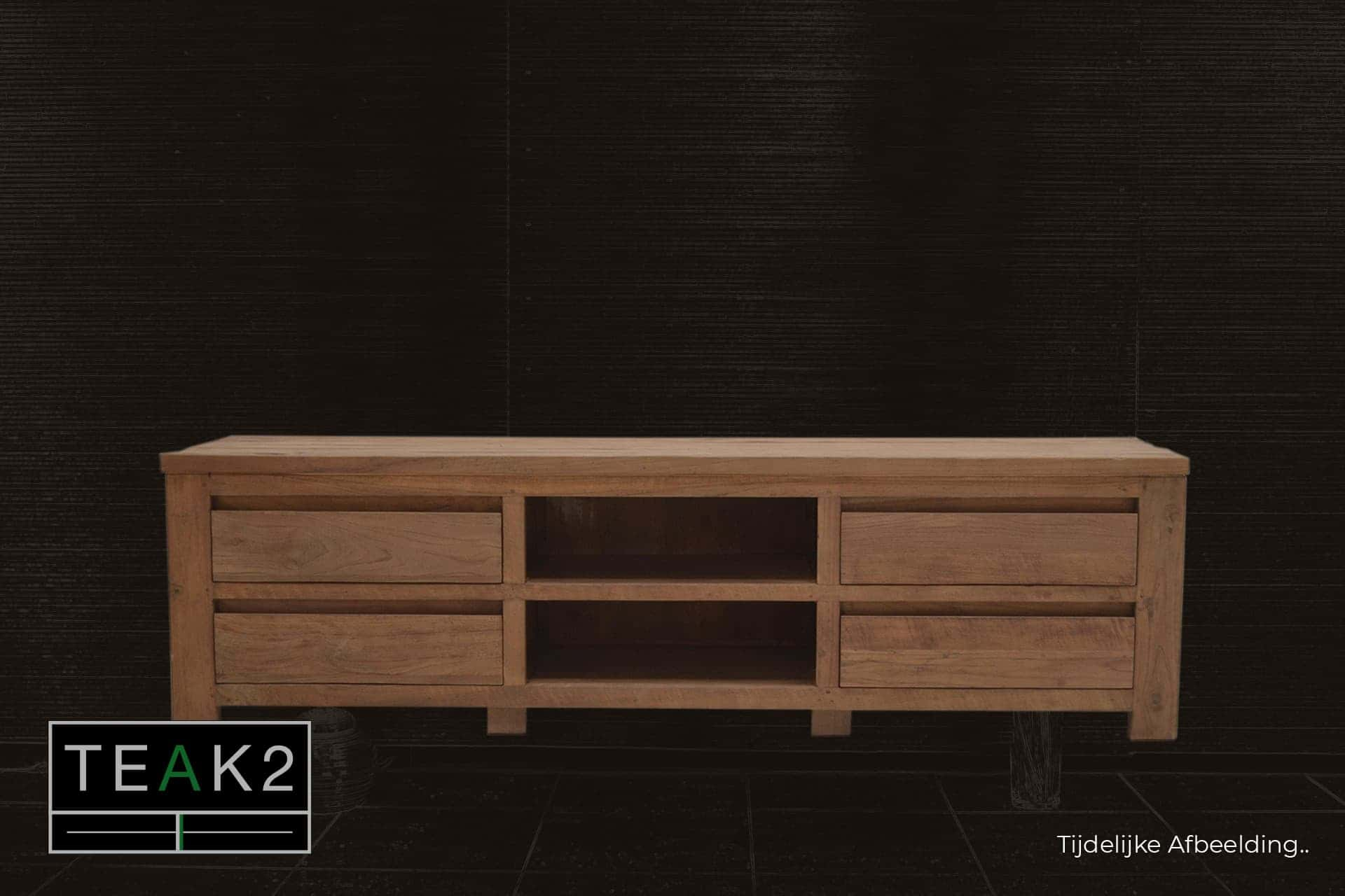 Teak Baru TV180L Old | teakhouten design Tv-meubel met lades en open middenvakken. Minimalistisch houten Tv-kast of Tv-dressoir in oud teak - TEAK2.