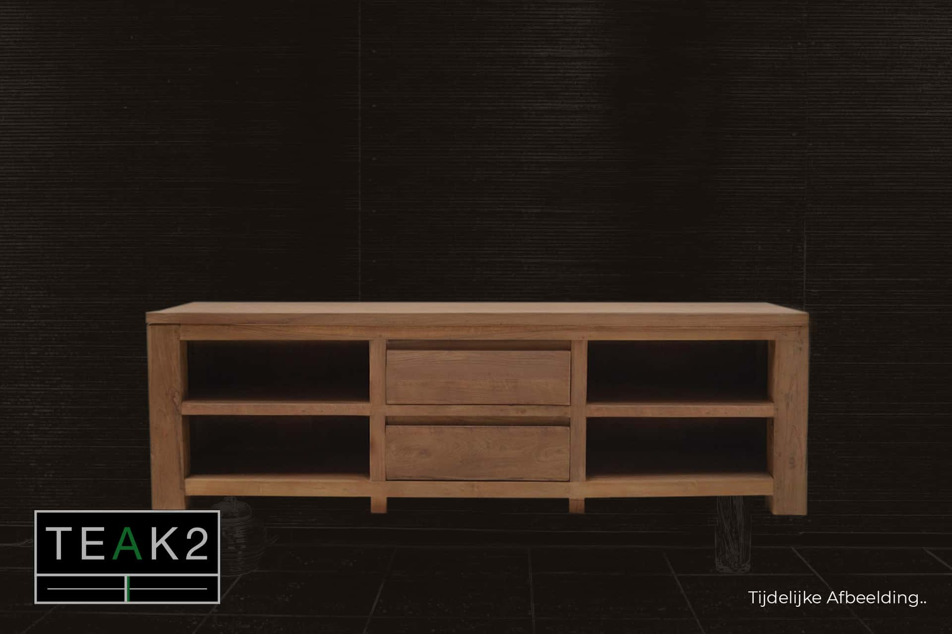 Teak Baru TV180TL Old | teakhouten design Tv meubel, lades in het midden en open vakken. Moderne Tv kast of Tv dressoir in massief oud teak - TEAK2.