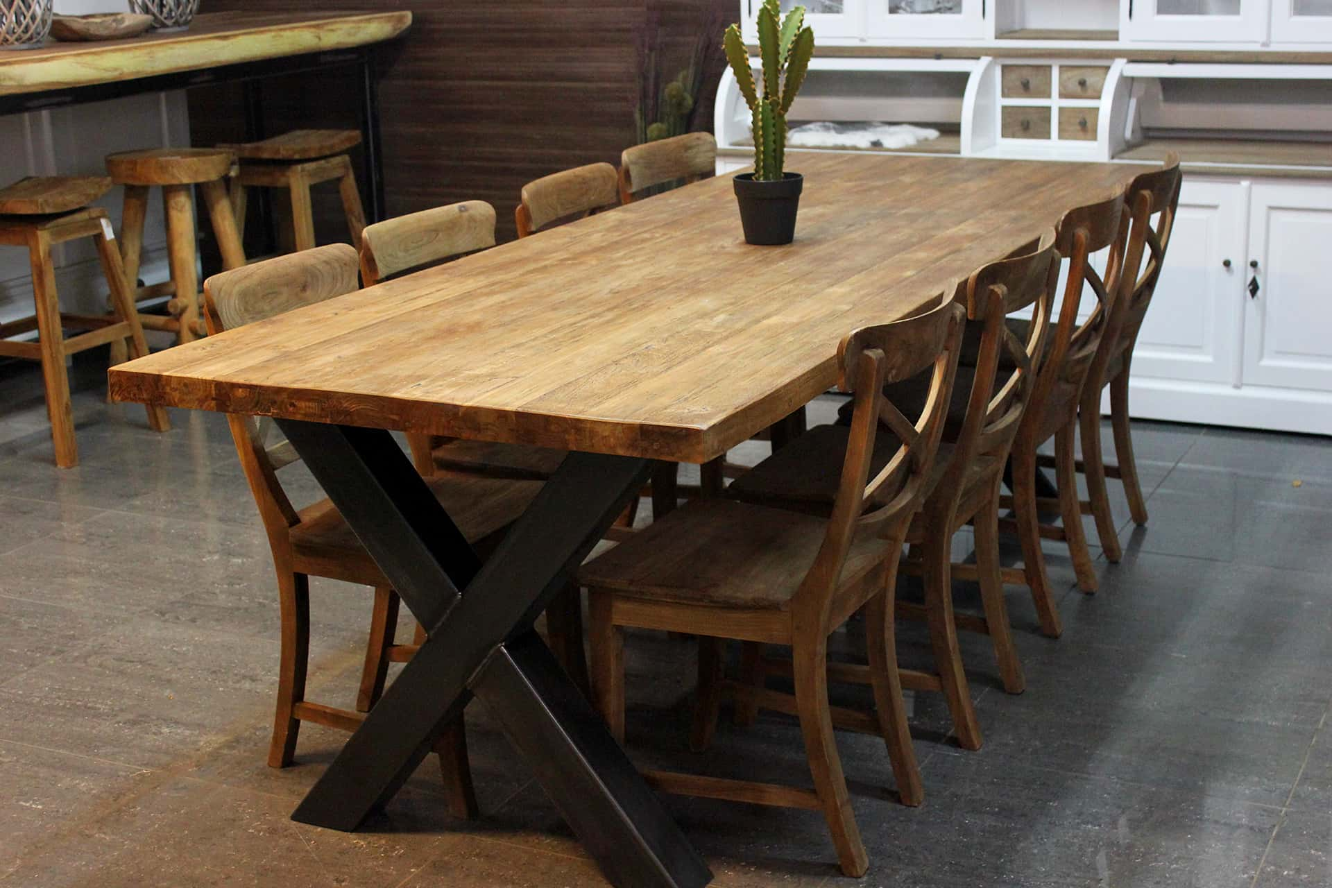 Teak Besi T260XL Old | wooden design table teak with metal leg. Dining table with thick solid old teak top. Quality from Indonesia - TEAK2.