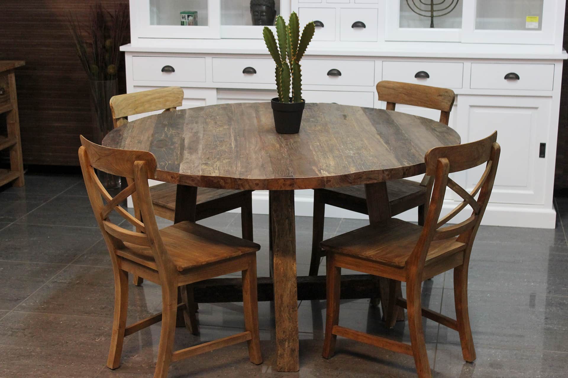 Teak campur tr mix robuuste ronde eettafel mixed wood teak