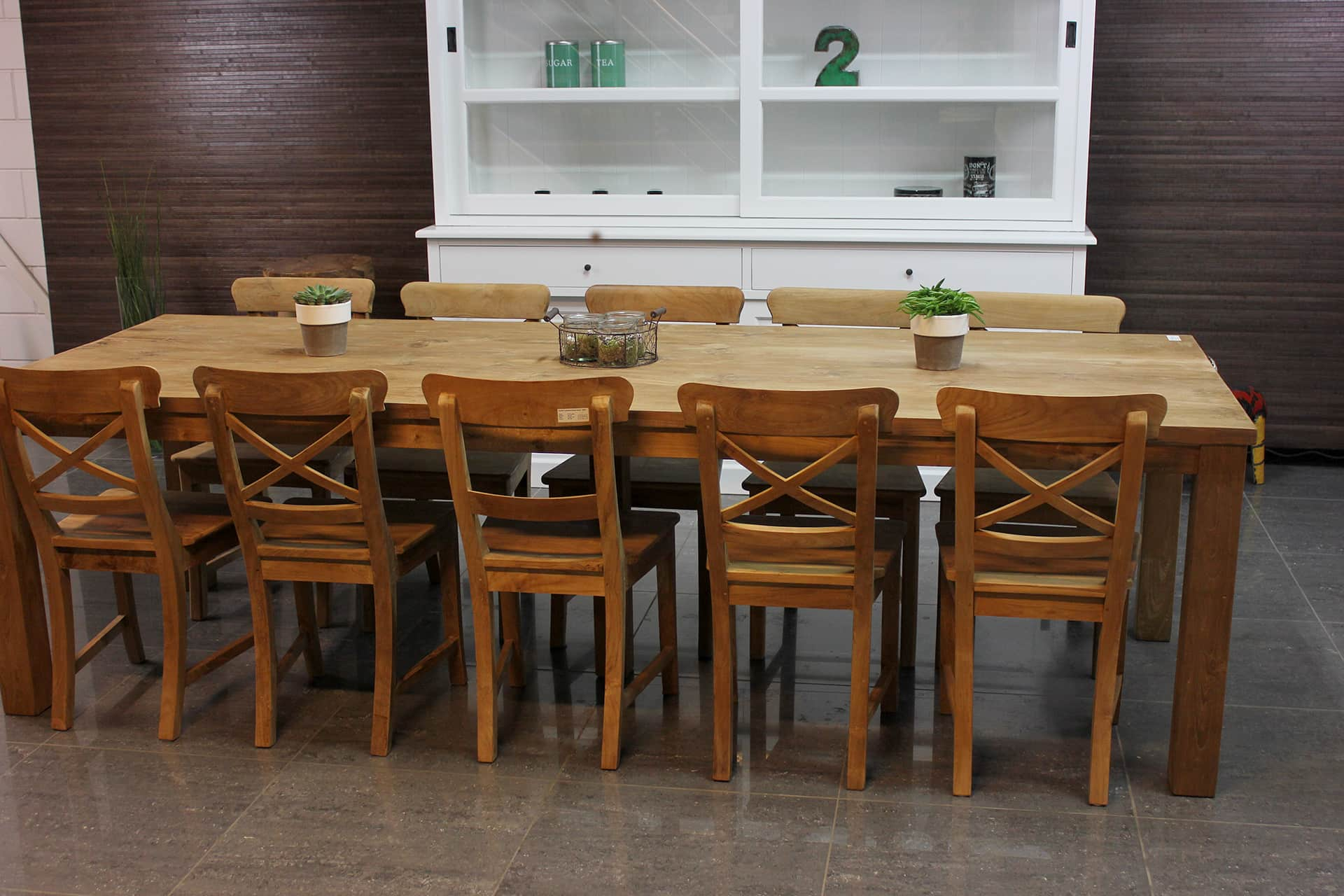 Teak Ketang T280D | modern smooth dining table teak, thick top (4cm) in smooth untreated teak. Solid teak dining table, quality from Indonesia - TEAK2.