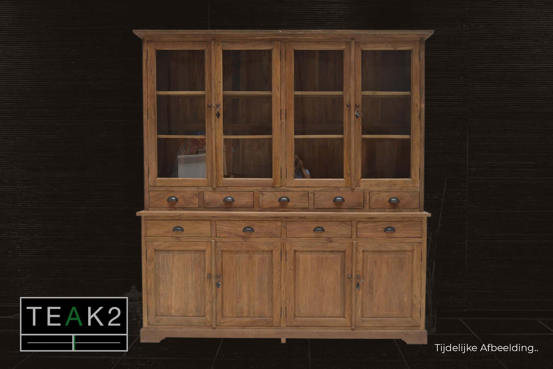 Teak Lebar 210L Old | wooden rural buffet cabinet with drawers in old teak. Teak display cabinet in rural style, drawers top and bottom cupboard - TEAK2.