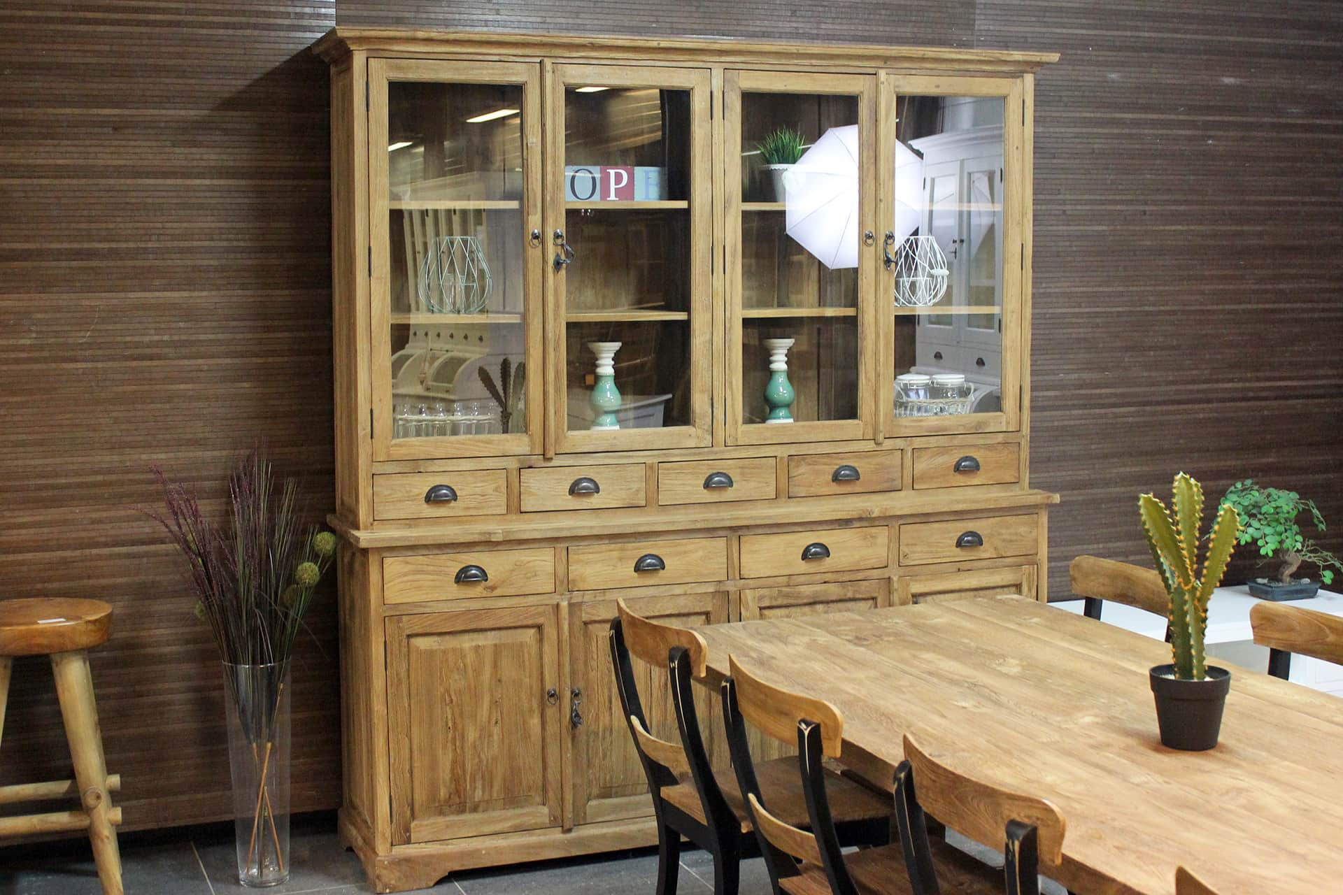 Teak Lebar 210 Old | teak buffet cabinet with drawers in brushed old teak. Rural cupboard with revolving doors, teak from Indonesia - furniture shop TEAK2.