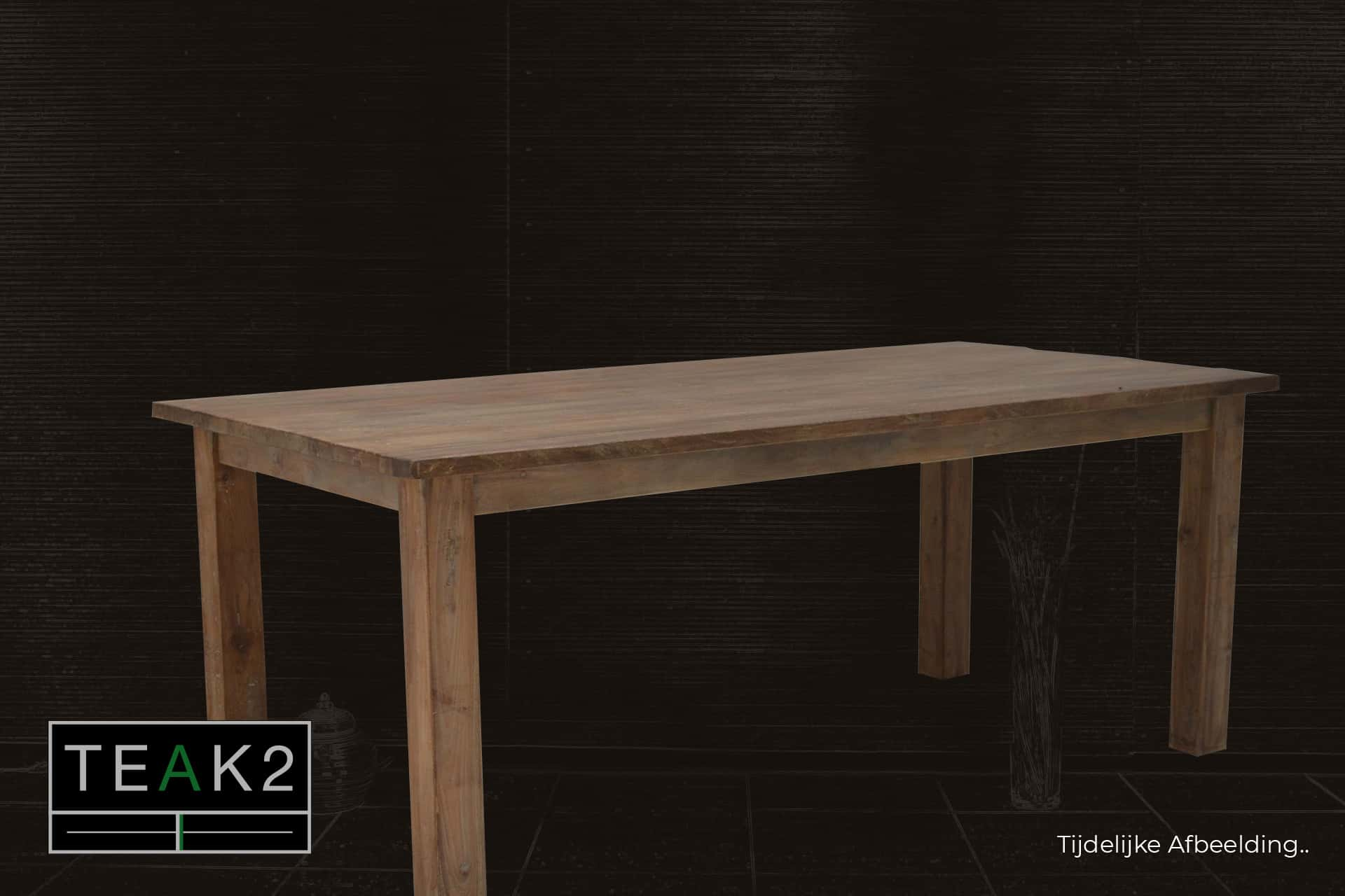 Teak Lugas T220L Old | rustic table in old teak. Teak dining table without header and beautiful structure. Quality from Indonesia - TEAK2.