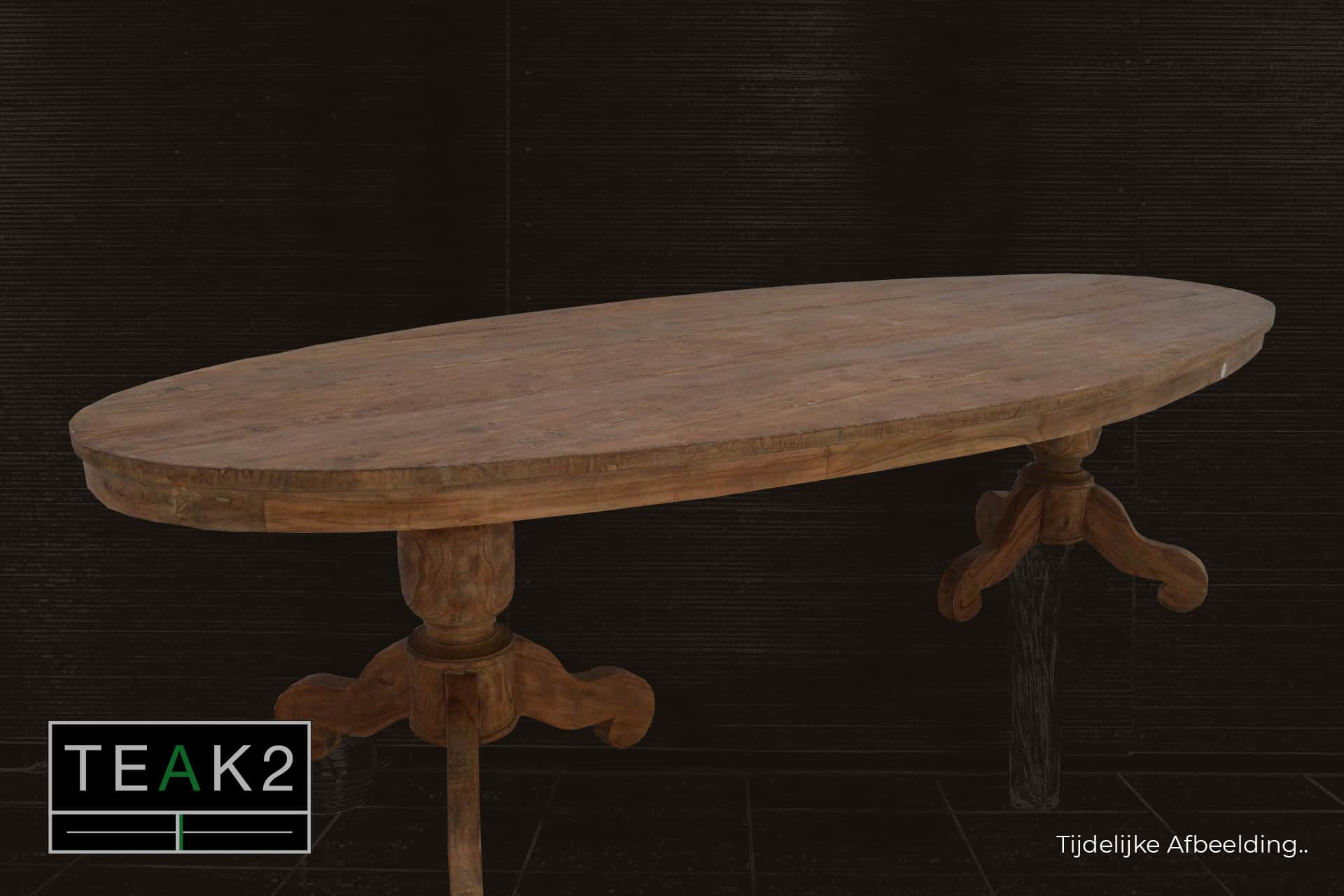 Teak Lugas TO260L Old | rural oval teak table in beautiful old teak from Indonesia. Wooden tables oval or round at furniture store TEAK2.