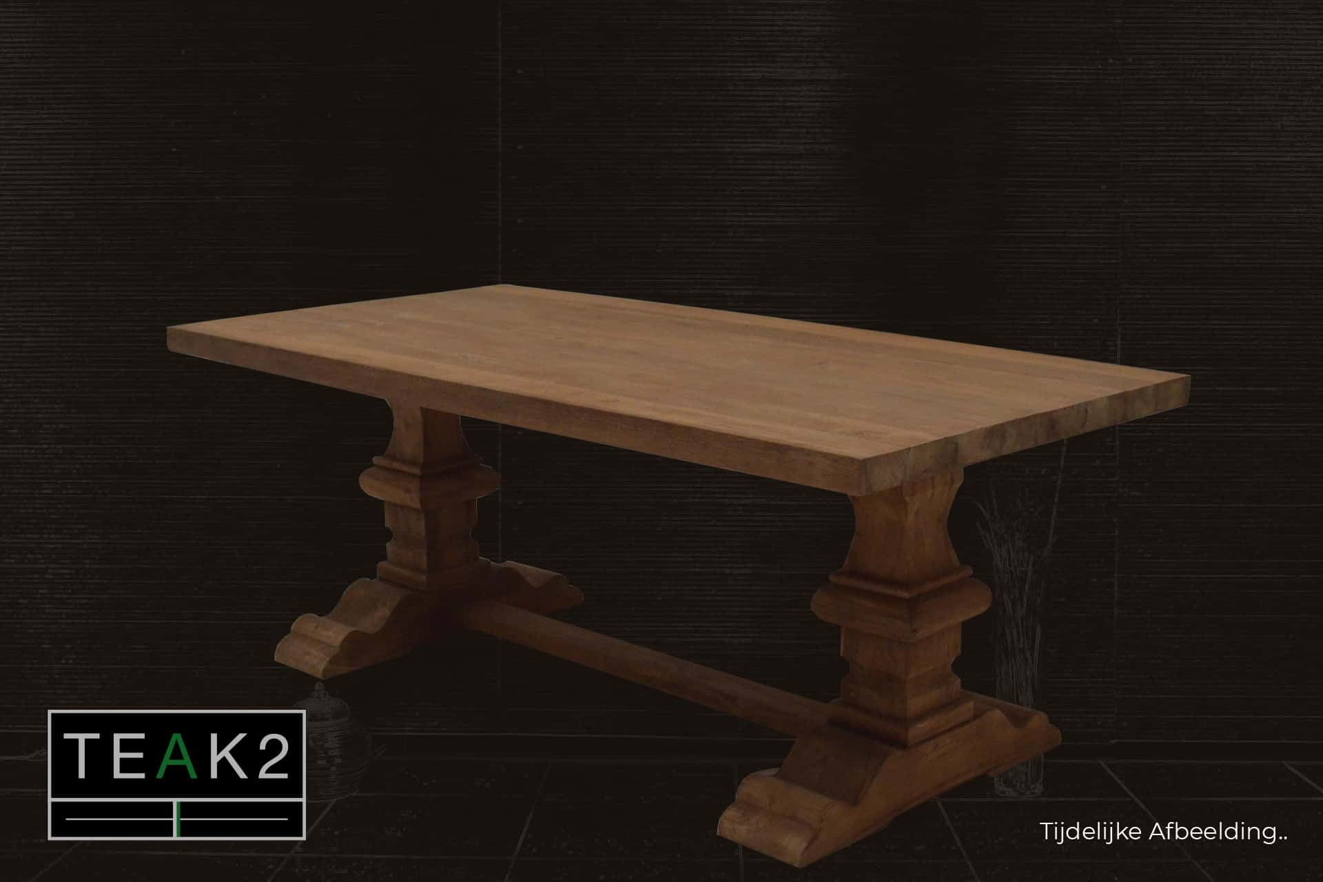 Teak Rahib T200 | smooth teak monastery table with thick solid leg and smooth untreated teak. Luxury rural style table without header - TEAK2.