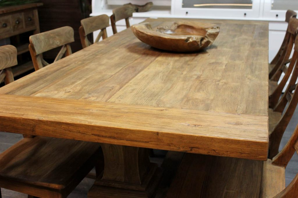 Teak Rahib T240KL Old | ländlicher Klostertisch aus Teakholz mit Kopfteil und Version aus massivem alten Teakholz aus Indonesien, luxuriöses massives Bein - TEAK2.