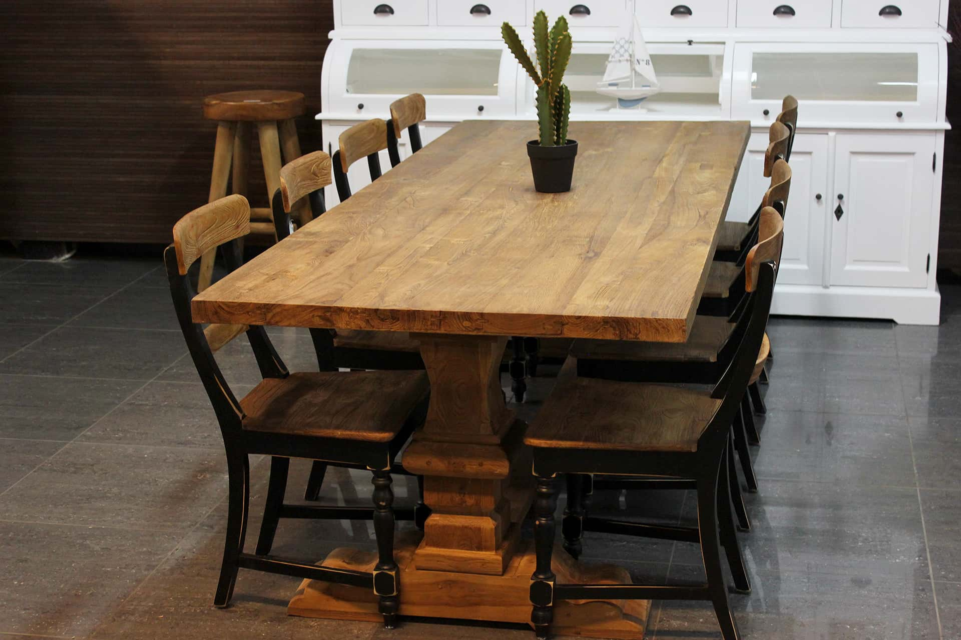 Teak Rahib T280 Old   old teak monastery table rural style. Luxurious dining table with monastic leg in solid brushed old teak from Indonesia - TEAK2.