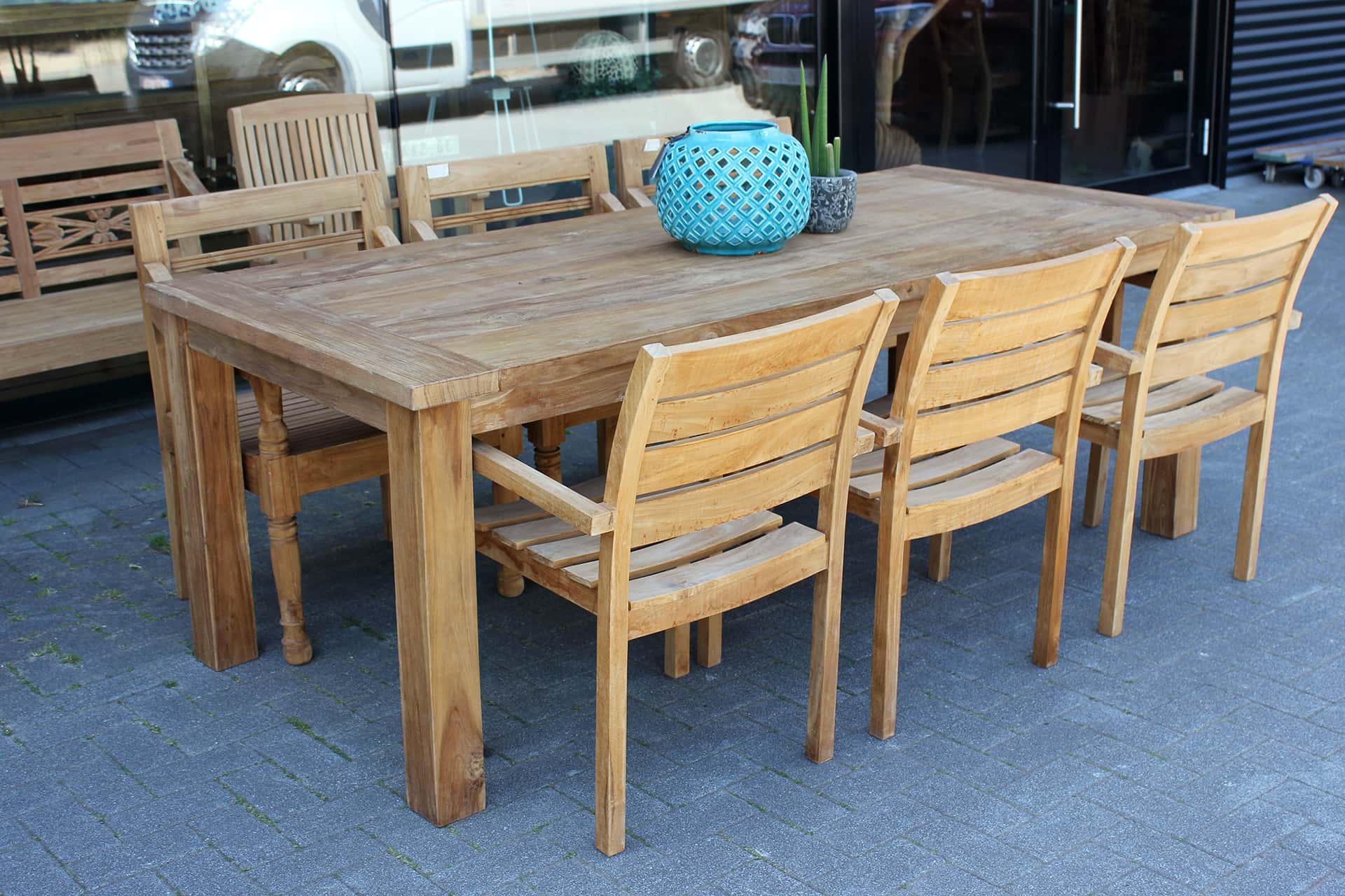 Teak Taman O220DK Old | thick teak garden table in brushed old teak, quality from Indonesia. Small & large garden tables in solid teak - TEAK2